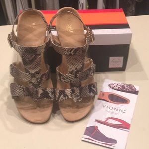 Vionic Snakeskin Wedge Sandals